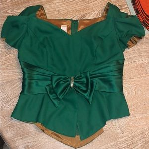 Vintage top green with rhinestone bow